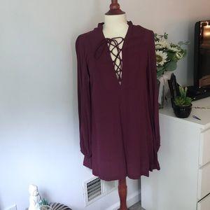 Plum long sleeve dress